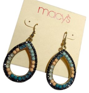 Macy's New Macy's Dangle Hoop Earrings Tear Drop Silver Blue J2701
