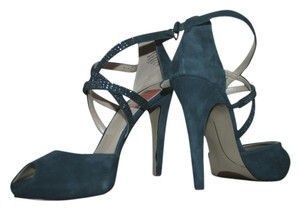 Nine West Strappy Rhinestones Peep-toe Blue/Green Sandals