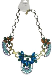 Other New Chunky Crystal Bib Necklace Gold Blue J2703
