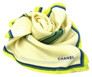 Chanel Auth CHANEL Silk 100% Scarf Light Yellow Multicolor Green