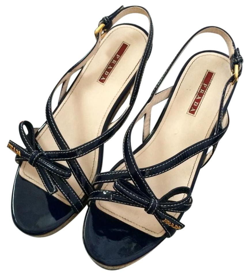 fa11e18391500 Prada Navy Patent Leather Bow Espadrille Wedges Size US 7.5 Regular ...