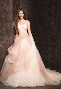 Vera Wang Pink and White Ombre Spring 2013 Tulle Ball Gown Feminine Wedding Dress Size 8 (M)