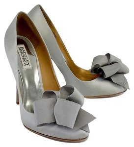 Badgley Mischka Silver Satin Ribbon Pumps