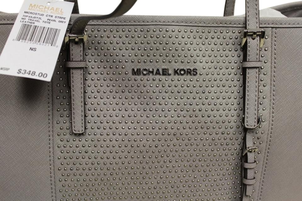 8dde143a01e1 Michael Kors Microstud Center Stripe Travel Saffiano 30f4sjdt2l Pearl Grey  Leather Tote 25% off retail