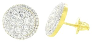 Other Round Earrings 14k Yellow Gold Finish Simulated Diamonds 13mm On Sale Screw Back
