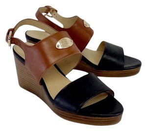 Coach Black Brown Leather Sandal Wedges