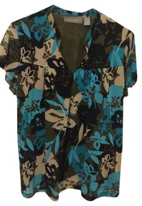 Liz Claiborne Top Blue, Black, Tan, Olive