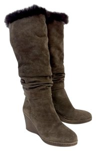 Aquatalia by Marvin K. Mocha Suede Wedge Boots