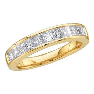 Luxury Designer 14k Yellow Gold .50 Cttw Invisible Diamond Anniversary Ring Bridal Wedding Band