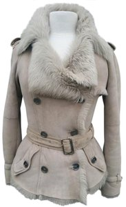 Burberry London Shearling Coat Tan Leather Jacket