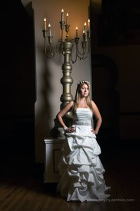 David's Bridal Ivory with Champagne Details Satin Traditional Wedding Dress Size 4 (S)