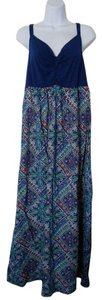 Navy Blue/Paisley Print Maxi Dress by Cacique (Lane Bryant) Maxi Machine Washable
