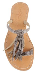 L*Space Snakeskin Leather Tassel Thong Rubber Sole Natural Sandals