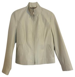 Elegante Leather Chic White Leather Jacket