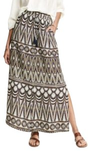 H&M Maxi Skirt White and patterned