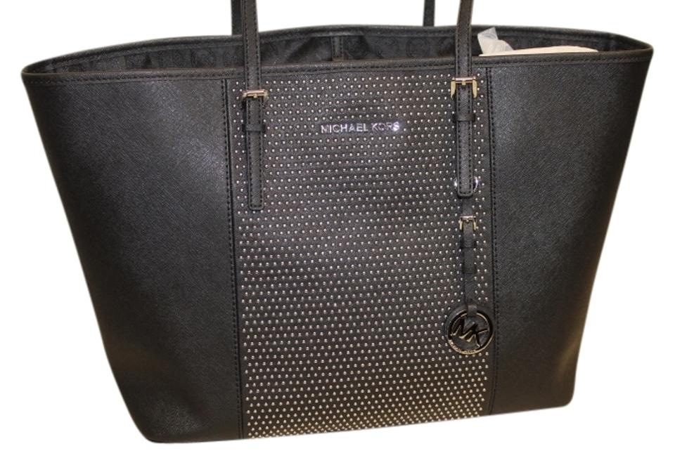 1a1baa39d1da Michael Kors Microstud Center Stripe Travel 30f4sjdt2l Black Saffiano  Leather Tote