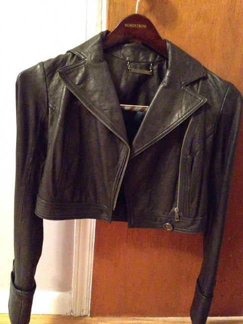 Diane von Furstenberg Leather Italian Leather Fully Lined Dvf Black Jacket