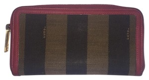 Fendi Fendi Brown striped canvas with pink A zippered