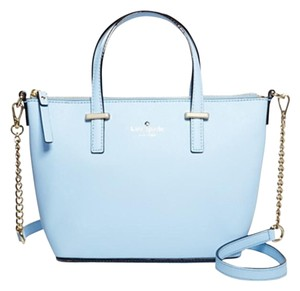Kate Spade Leather Cedar Street Harmony Crossbody Satchel Tote in skyblue