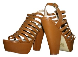 Steve Madden Platform Leather Strappy Chunky Heel Cognac Sandals
