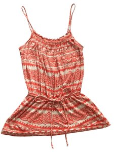 Aqua Aztec Tribal Bloomingdales Top Orange