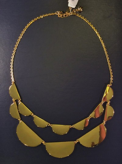 Kate Spade Sculptural Brand New with Tags Kate Spade Rare Double Scallop Necklace Reversible12K Gold/White