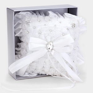 White Clear Crystal Accent Bridal Wedding Ring Bearer Pillow Bridal Wedding Accessory