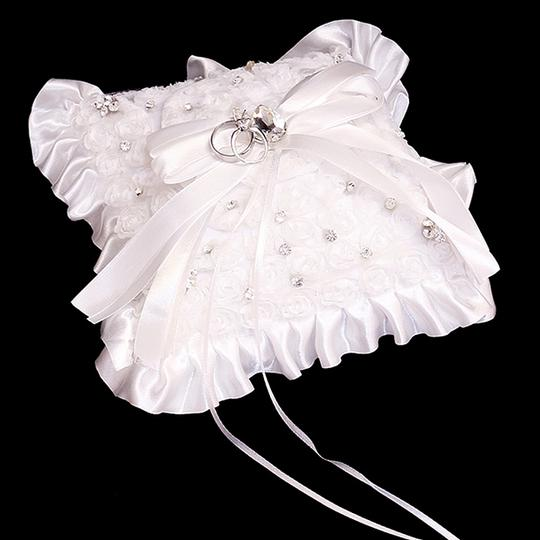 White Clear Crystal Accent Bridal Wedding Ring Bearer Pillow Bridal Wedding Accessory Image 1
