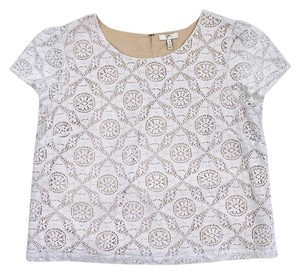 Joie White & Beige Lace Short Sleeve Cropped Shirt T Shirt