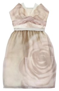 BCBGMAXAZRIA short dress Beige Pink & Cream Print Silk Strapless on Tradesy