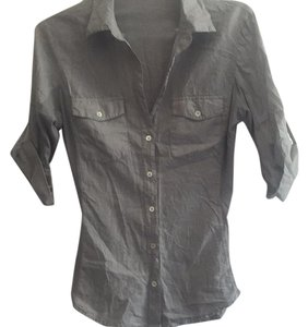 James Perse James Button Up Sheer Designer Shirt Button Down Shirt Grey