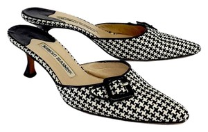 Manolo Blahnik Black & White Houndstooth Slide Heels Sandals