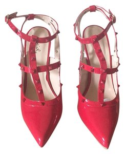 Qupid Red Pantent Pumps Red Pumps