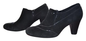 Clarks Suede Button Heel Black Boots