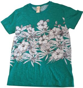 Aéropostale Aeropostale Short Sleeve T Shirt Teal with White and Gray Floral Design