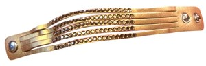 Other Metallic Gold Leather Bracelet with Rhinestones