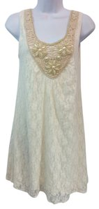 DATING CLOTHING short dress Creme Lace Shift on Tradesy