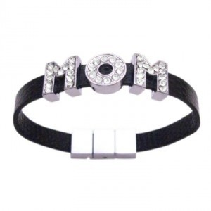 Silver Black Gift Mom Mothers Day Mom Word On Cuff Bracelet