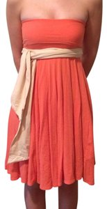 J.Crew short dress Orange Strapless Empire Waist J Crew on Tradesy