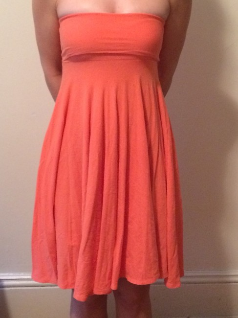 J.Crew short dress Orange Strapless Empire Waist Flowy on Tradesy