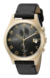 Marc Jacobs Marc By Marc Jacobs Women's The Slim Black Leather & Gold Tone Stainless Steel Chronograph Watch MBM1398