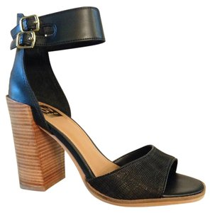 DV by Dolce Vita Wood Heel Leather Chunky Heel Summer Black Shimmer/Snake Sandals