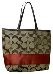 Coach Classic Leather Signature Stripe Large Tote in Red, Brown