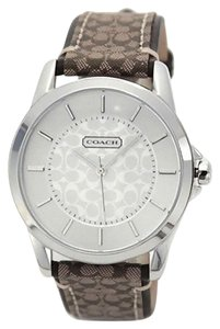Coach Women's Classic Signature Brown Leather & Monogram Fabric Print Silver Tone Stainless Steel Watch 14601506
