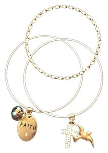 Set of 3 Gold Bangles with Charms