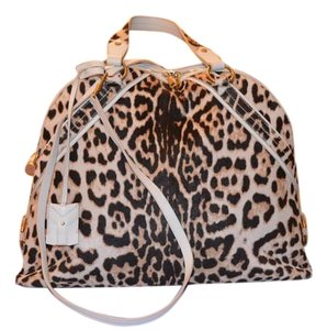 Saint Laurent Signature Leather Animal Print Pony Hair Tote in Leopard print