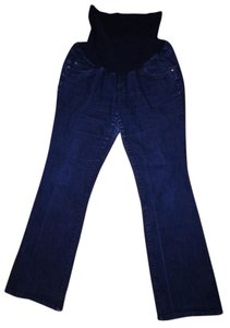 Indigo Blue Bootcut Faded Stretchy Paneled Maternity Jeans