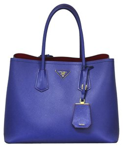 Prada Saffiano Double Leather Handbag Tote in Blues