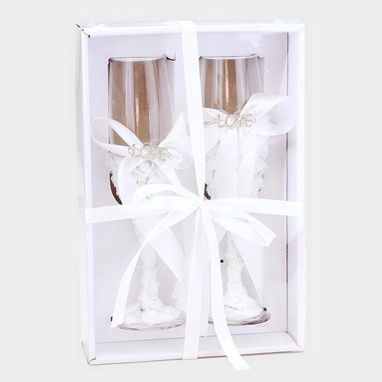 Clear White Bridal Wedding Toasting Champagne Flutes Love Accent Wine Glasses Image 1