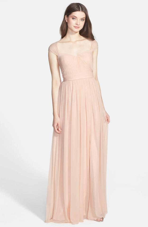 Monique Lhuillier Jersey Chiffon Gown In Blush Formal Bridesmaid/Mob ...